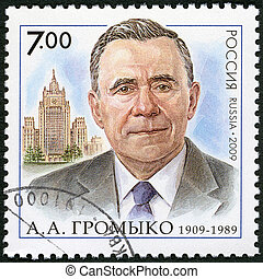 RUSSIA - CIRCA 2009: A stamp printed in Russia shows The 100th anniversary of birth A.A.Gromyko (1909-1989), the statesman, the diplomat, circa 2009