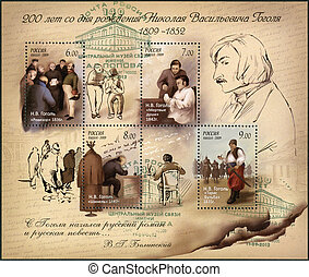 RUSSIA - CIRCA 2009: A stamp printed in Russia shows the 200th anniversary of birth of Nikolai Vasilievich Gogol (1809-1852), writer, circa 2009
