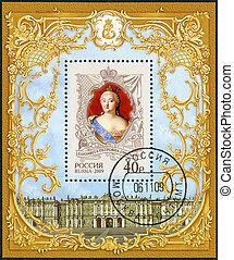 RUSSIA - CIRCA 2009: A stamp printed in Russia shows The 300th anniversary of birth of Elizaveta Petrovna (1709-1762), empress, History of the Russian State, circa 2009