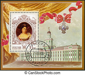 RUSSIA - CIRCA 2009: A stamp printed in Russia shows The 325th anniversary of birth of Catherine I Alekseevna (1684-1727), empress, History of the Russian State, circa 2009