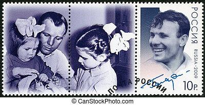 RUSSIA - CIRCA 2009: A stamp printed in Russia shows Yuri Gagarin (1934-1968), the 75th anniversary of birth U.A. Gagarin , first astronaut in the world, circa 2009