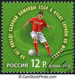 RUSSIA - CIRCA 2010: A stamp printed in Russia dedicated The 50th anniversary of the USSR national team's victory in the UEFA European football championship, circa 2010