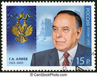 RUSSIA - CIRCA 2013: A stamp printed in Russia shows Heydar Alirza oglu Aliyev (1923-2003), series Holders of the Order of Saint Andrew the First-Called, circa 2013