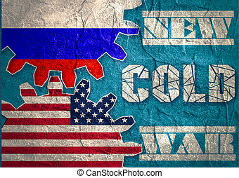 Russia confrontation United States America concept Cold War