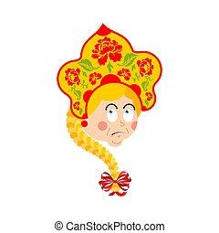 russia, confuso, emoji, oops., russo, ragazza, reso perplesso, emotions., femmina, sorpresa, in, nazionale, cappello, kokoshnik., storico, popolo, berretto
