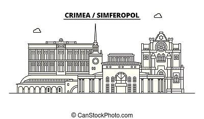 Russia, Crimea, Simferopol. City skyline: architecture, buildings, streets, silhouette, landscape, panorama, landmarks. Editable strokes. Flat design, line vector illustration concept. Isolated icons