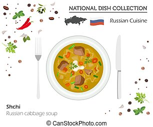 Russia Cuisine. European national dish collection. Russian cabbage soup shchi isolated on white, infographi