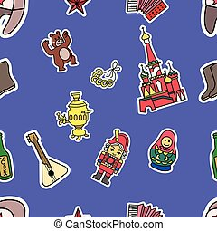 Russia Culture Doodle Graphic Seamless Pattern