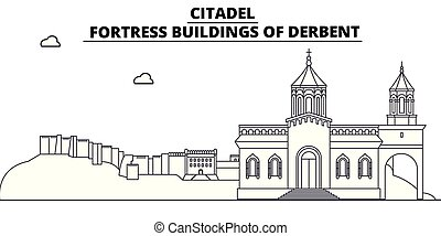 Russia, Dagestan, Derbent, Citadel travel famous landmark skyline, panorama vector. Russia, Dagestan Derbent Citadel linear illustration