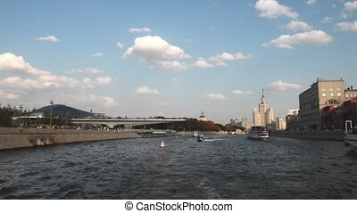 Russia. Embankment of the Moscow river. Boat trip to Moscow.
