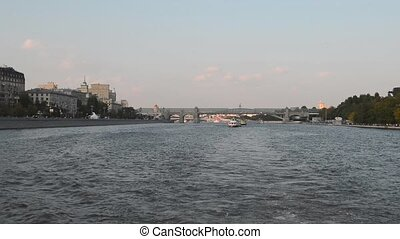 Russia. Embankment of the Moscow river. Boat trip to Moscow....