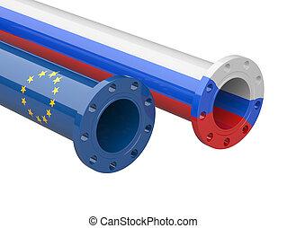 Russia - Europe gas crisis concept.