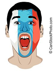 Russia fan face - Vector illustration of the Russia fan face