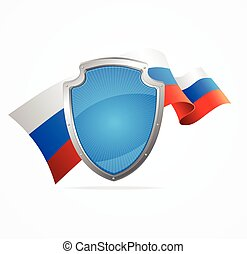 Russia Flag and Shield. Vector