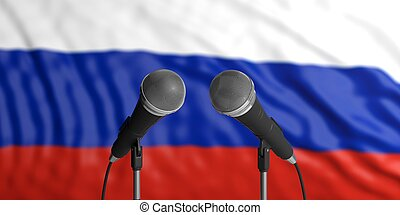 Russia flag background with two microphones in front of it. Close up view. 3d illustration