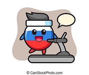 Russia flag badge cartoon character walking on the treadmill