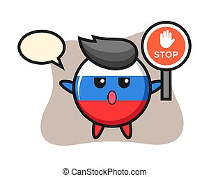 Russia flag badge character illustration holding a stop sign