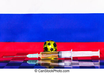 Russia Flag Chess as a football. FIFA World Cup 2018. A golden ball and a syringe with doping.