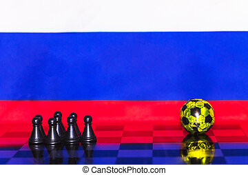 Russia Flag Chess as a football. FIFA World Cup 2018. A team of black figures near the golden ball.