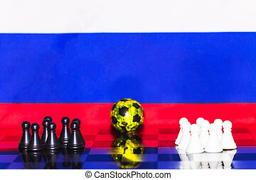 Russia Flag Chess as a football. FIFA World Cup 2018. Teams of black and white figures. A golden ball in the middle.
