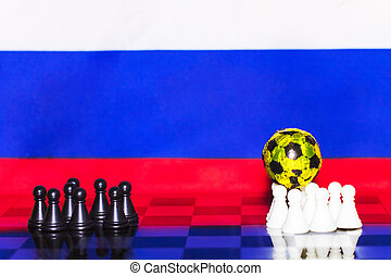 Russia Flag Chess as a football. FIFA World Cup 2018. Teams of black and white figures. A golden ball on the white side.