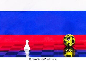 Russia Flag Chess as a football. FIFA World Cup 2018. White figure near the golden ball.