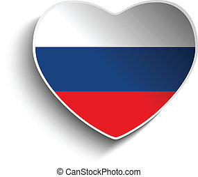 Russia Flag Heart Paper Sticker