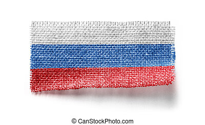 Russia flag on a piece of cloth on a white background