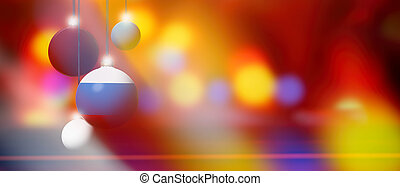 Russia flag on Christmas ball with blurred and abstract background.