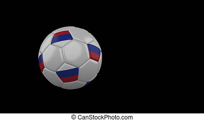 Russia flag on flying soccer ball on transparent background, alpha channel