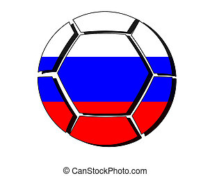 Russia flag on football ball, 2018 Championship, white background