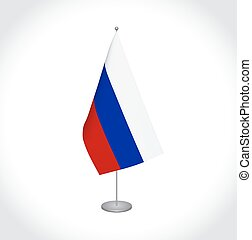 Russia flag on white background