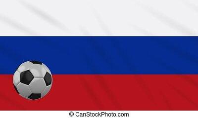 Russia flag waving and football rotates, loop