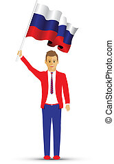 Russia flag waving man