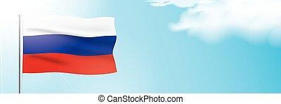 Russia flag waving on a blue sky background. Horizontal ...