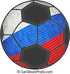 Russia flag with soccer ball background