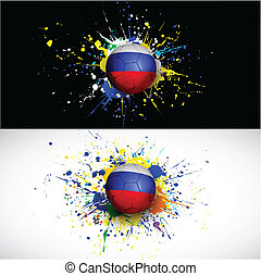 Russia flag with soccer ball dash on colorful background, vector