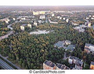 russia., foto, región, bor, sosnovy, leningrado, aéreo
