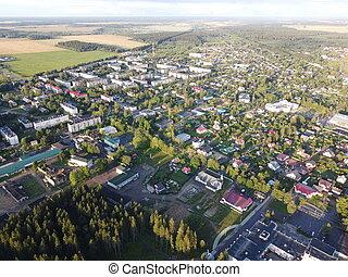 russia., foto, región, leningrado, aéreo, volosovo