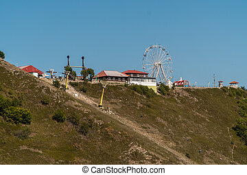 Russia. Gelendzhik, August 16, 2020. Olymp amusement Park on the top of the Markhotsky ridge.