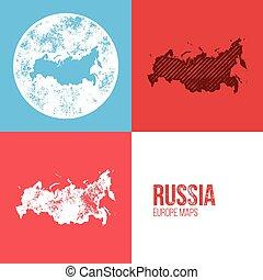 Russia Grunge Retro Map