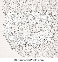 Russia hand lettering and doodles elements background.