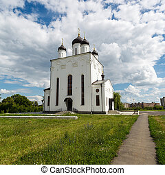 white church on background blue sky