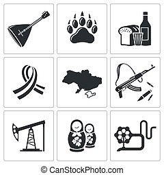 Russia icon collection - Russia icon set on a white...