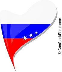 russia in heart. Icon russia flag