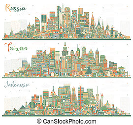 Russia, Indonesia and Taiwan City Skyline with Color Buildings. Tourism Concept with Historic Architecture. Cityscapes with Landmarks. Taipei. Kaohsiung. Taichung. Tainan. Jakarta. Surabaya. Bekasi. Bandung.