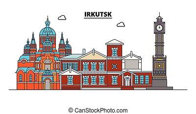 Russia, Irkutsk. City skyline: architecture, buildings,...