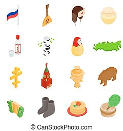 Russia isometric 3d icons