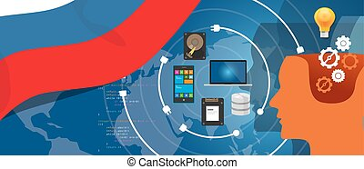 Russia IT information technology digital infrastructure connecting business data via internet network using computer software an electronic innovation