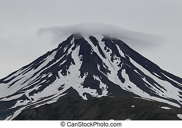 Russia, Kamchatka, Aerial view of Vilyuchinsk volcano